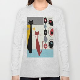 Mid-Century Modern Art Cats Long Sleeve T-shirt