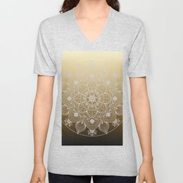 White Lace Boho Floral Mandala of Flowers and Leaves on Golden Ombre Unisex V-Neck