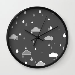 Grey Rains Wall Clock