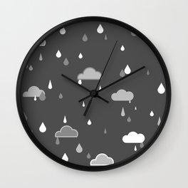 Grey Rains Wall Clock