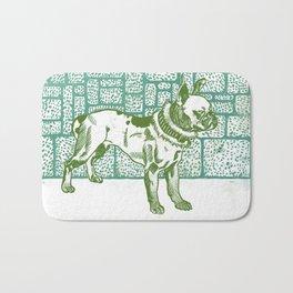 Pitbull Terrier - green and blue Bath Mat