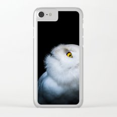 Winter White Snowy Owl Clear iPhone Case