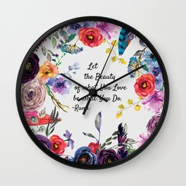 Let Beauty Take Over Typography Art Wall Clock