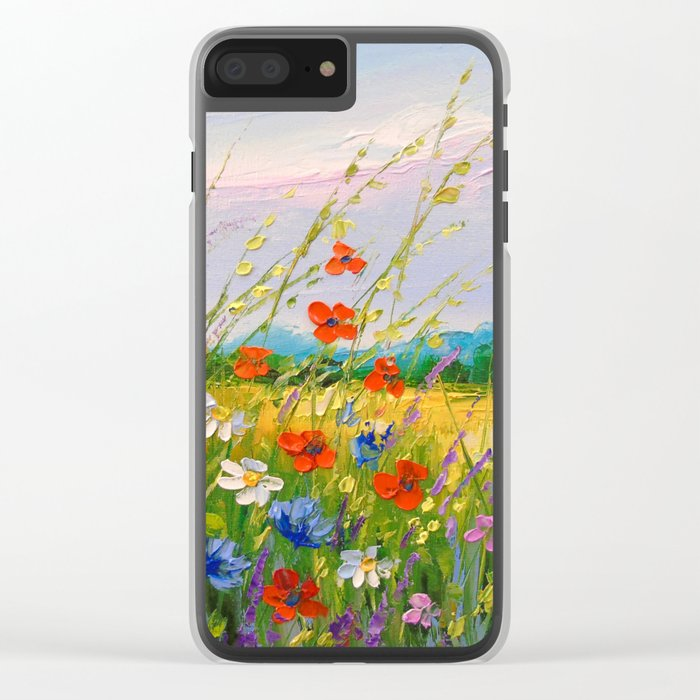 Wild flowers Clear iPhone Case