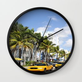 Yellow Cabs On Ocean Drive Wall Clock