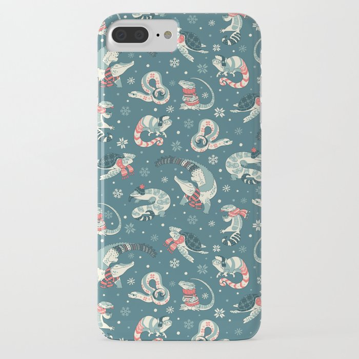 winter herps in dark blue iphone case