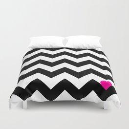Heart & Chevron - Black/Pink Duvet Cover