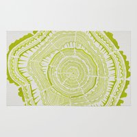 tree rings Area & Throw Rugs featuring Lime Tree Rings by Cat Coquillette