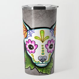 Chihuahua in White - Day of the Dead Sugar Skull Dog Travel Mug