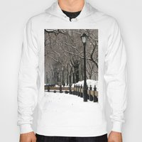 "central park Hoodies featuring ""Central Park in Winter"" by ColorWorkStudio"