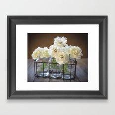 Roses in Glass Jars Framed Art Print