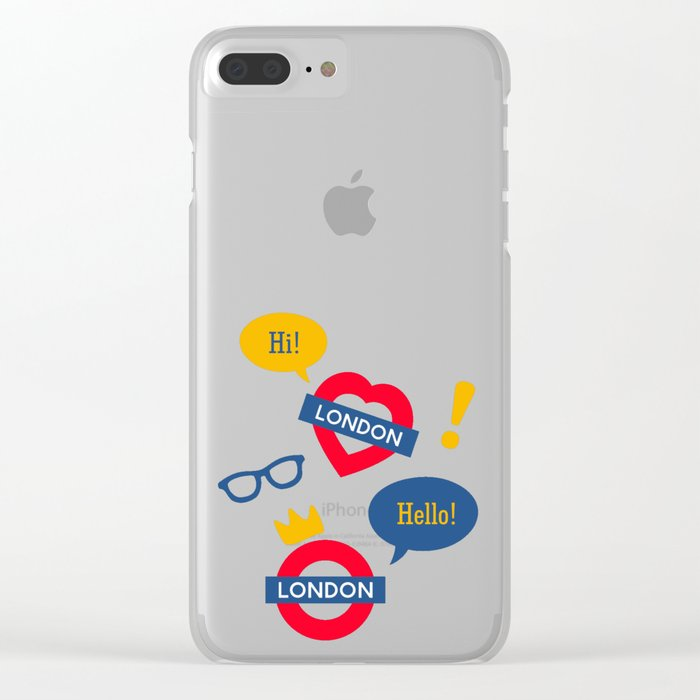 Crazy London Pattern Clear iPhone Case