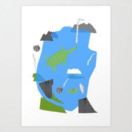 Turtle pond Art Print