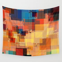 Multi color Square Geometrical Overlays Wall Tapestry