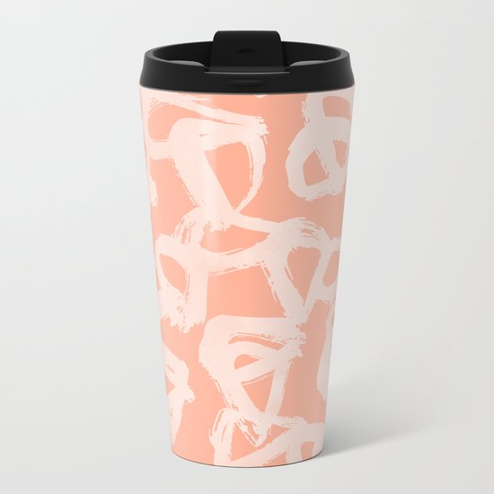 Sweet Life Triangle Dots Peach Coral Pink Metal Travel Mug