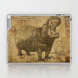 Vintage retro Hippo wildlife animal africa Laptop & iPad Skin