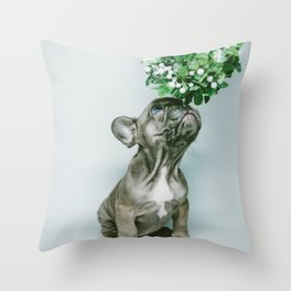 Christmas Pup Under Mistletoe (Color) Throw Pillow
