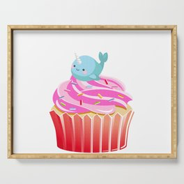 Cute Narwhal T-shirt Cupcake Lovers Tee Serving Tray
