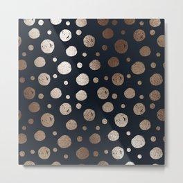 Navy & Gold Polka Dot Pattern Metal Print
