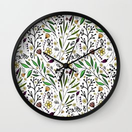 stylish pattern of herbs, flowers and leaves Wall Clock