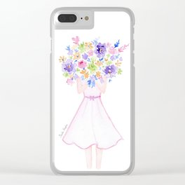 GIRL HOLDING BOUQUET OF FLOWERS / THANK YOU / CONGRATULATIONS / BIRTHDAY Clear iPhone Case