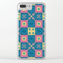 Classic Pretty Quilt Geometric Print in Yellow Pink and Blue Clear iPhone Case