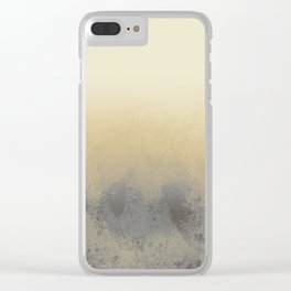 Gradient textured background blue gold beige tones Clear iPhone Case