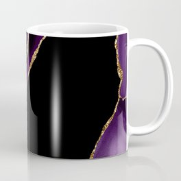 Purple, Lilac, Ebony, And Gold Glitter Marble Agate Coffee Mug