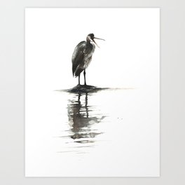Heron Reflecting Art Print