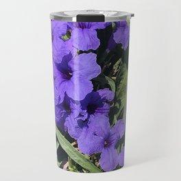 Periwinkle Blue Flowers In Garden With Leaves Askew Travel Mug