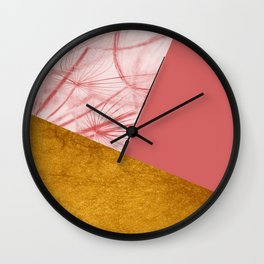 Dandelion Pink Gold Collage Wall Clock