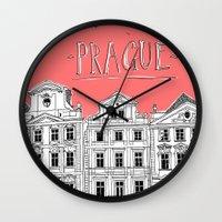 prague Wall Clocks featuring Prague by jeune-jaune