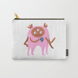 Neon pink Retro monster enjoying a cup of tea Carry-All Pouch