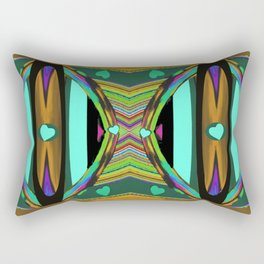 Heart Land on Teal,Gold,Black,Pink,Aqua,Purple Rectangular Pillow