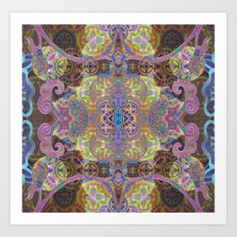 Friendship and Peacefulness Tibetan Inspired Boho Mandala Illustration Art Print