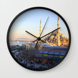 Bazaar and a mosque in Istanbul  Wall Clock