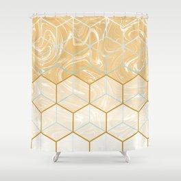 Geometric Effect Caramel Marble Design Shower Curtain