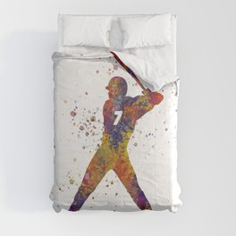 Baseball player isolated 09 in watercolor Comforters