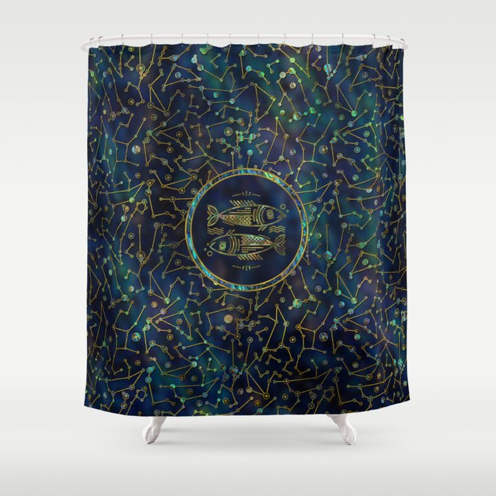 Pisces Zodiac Gold Abalone On Constellation Shower Curtain