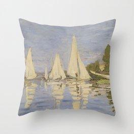 Claude Monet Regattas at Argenteuil Throw Pillow