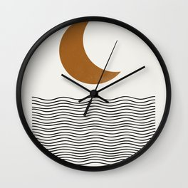Moon by the ocean Wall Clock