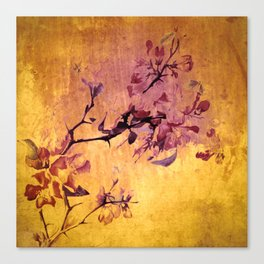 japanese crab apple flowers on golden tones Canvas Print