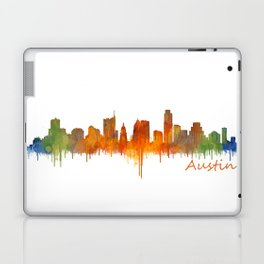 Austin Texas, City Skyline, watercolor  Cityscape Hq v2 Laptop & iPad Skin