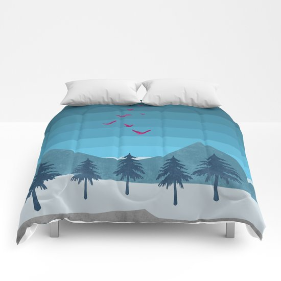 Birds flying high Comforters