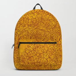 Vintage Red Yellow Floral Ornament Backpack