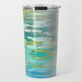 Serenity Prayer Koi Pond Blue Green Travel Mug