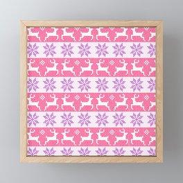 Watercolour Fair Isle in Pink & Purple Framed Mini Art Print