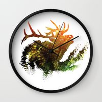 elk Wall Clocks featuring Elk by Justin Kedl