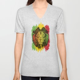 Rasta Jamaican Lion Gift for Rastafari & Reggae music fans graphic Unisex V-Neck