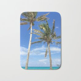 Towering Palm Trees, Blue Sky Bath Mat